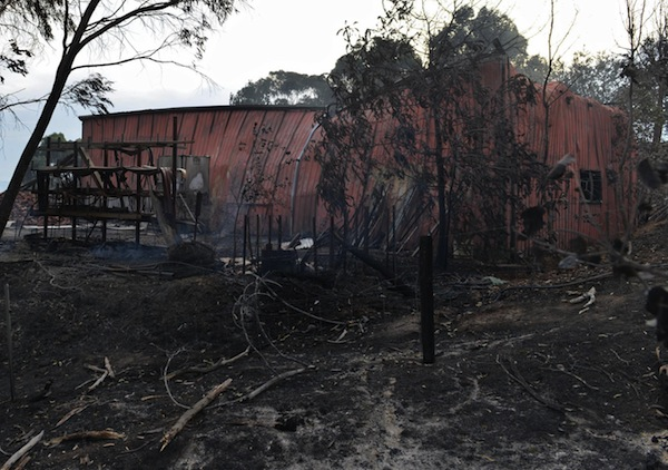 A shed destroyed during bushfires in Upper Hermitage. Photo: Getty