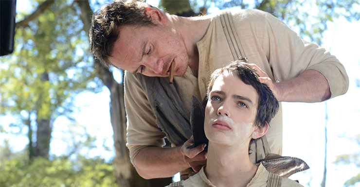 Michael Fassbender and Kodi Smith McPhee in Slow West.