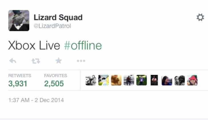 The Lizard Squad took to Twitter to announce its Xbox breach.