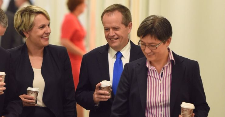 Bill Shorten with Tania Plibersek (l) and Penny Wong (r) at Parliament House in Canberra.