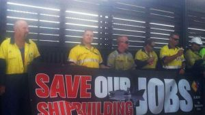 Workers rally to have submarines built in Adelaide to save their jobs.