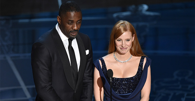 Elba and Chastain.