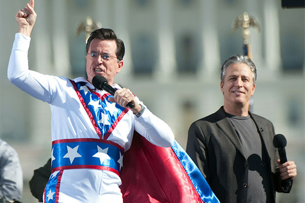 With Stephen Colbert at 'The Rally To Restore Sanity' in 2010.