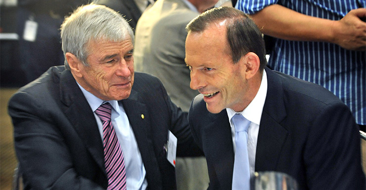 With Prime Minister Tony Abbot. Photo: Getty