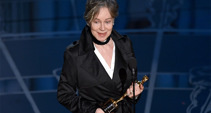 Milena Canonero accepts the award for best costume design for The Grand Budapest Hotel.