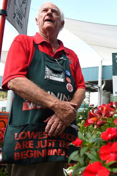 Bunnings employee Tony Mebberson, 78.