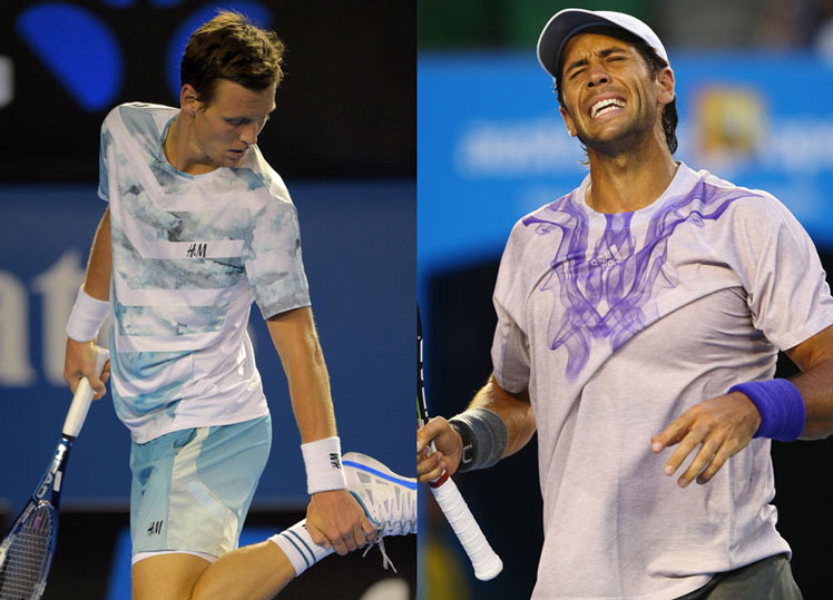 Beach anyone? Tomas  Berdych in his seaside combo, while Fernando Verdasco has been having trouble with his ball-point.