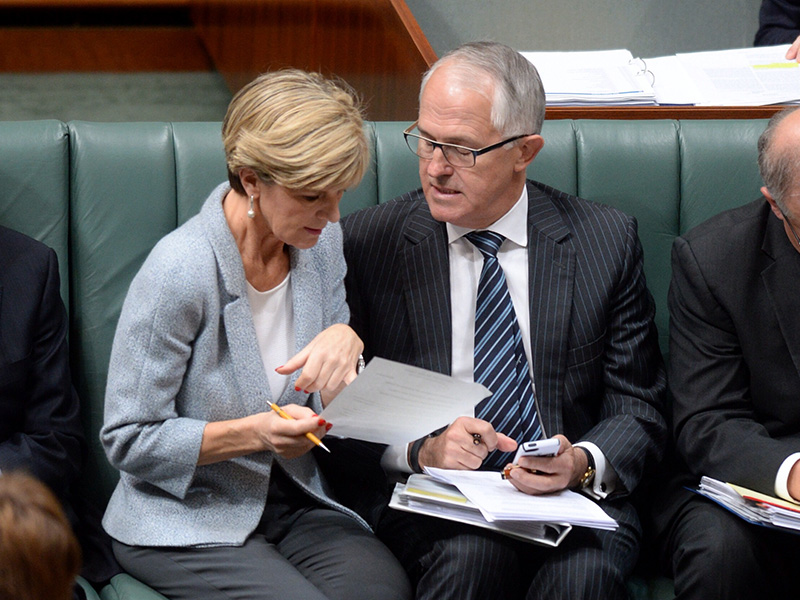 Getty. Julie Bishop and Malcolm Turnbull