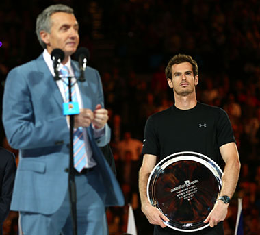 Murray had to make do with Bruce 'off my face' McAvaney. Photo: Getty