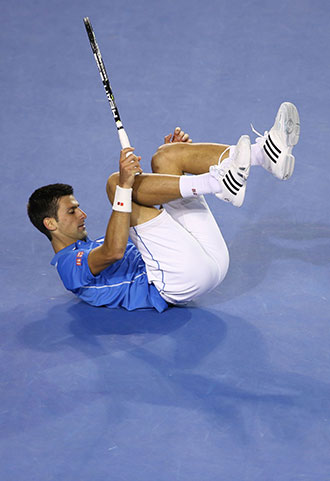 Djokovic's legs went from under him on several occasions.