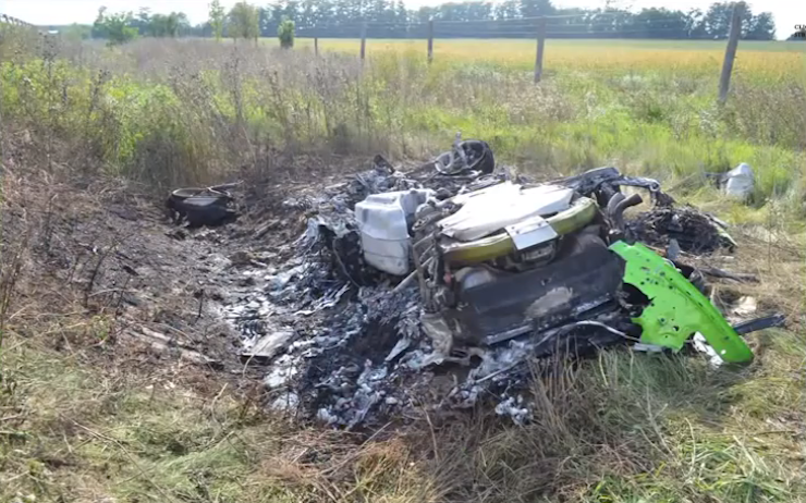 The Lamborghini soon after it crashed in Hungary. Photo: Youtube