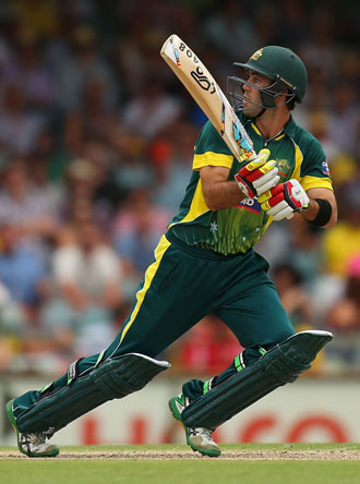 Maxwell 'goes reverse' during his innings. Photo: Getty