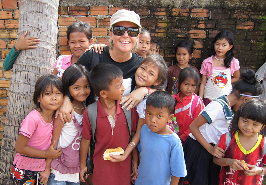Joanne McKell with some of her students in Siem Reap. Source: Supplied.