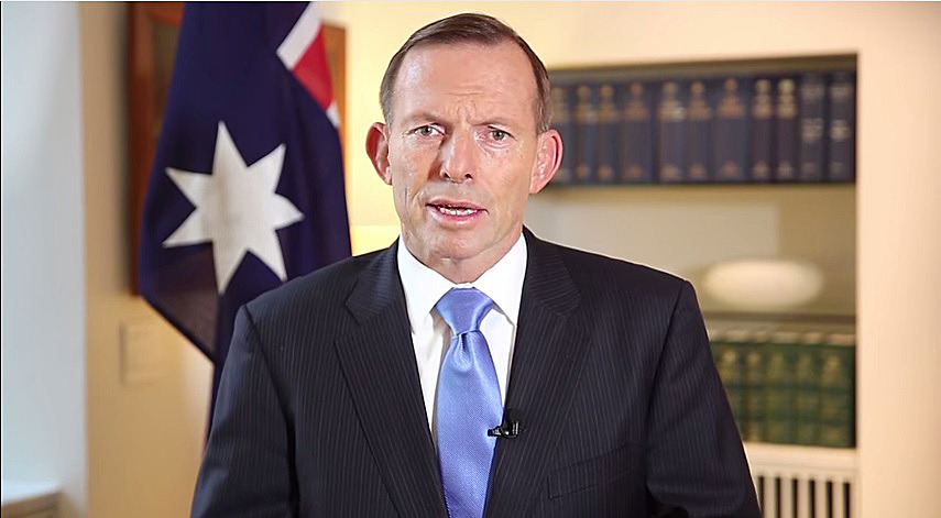 Tony Abbott speaks in a video