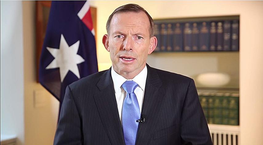 Tony Abbott speaks in a video