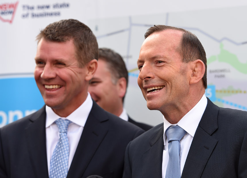 Tony Abbott Mike Baird. AAP