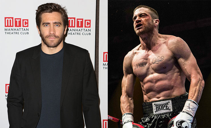 Gyllenhaal on the red carpet recently (left) and in Southpaw.