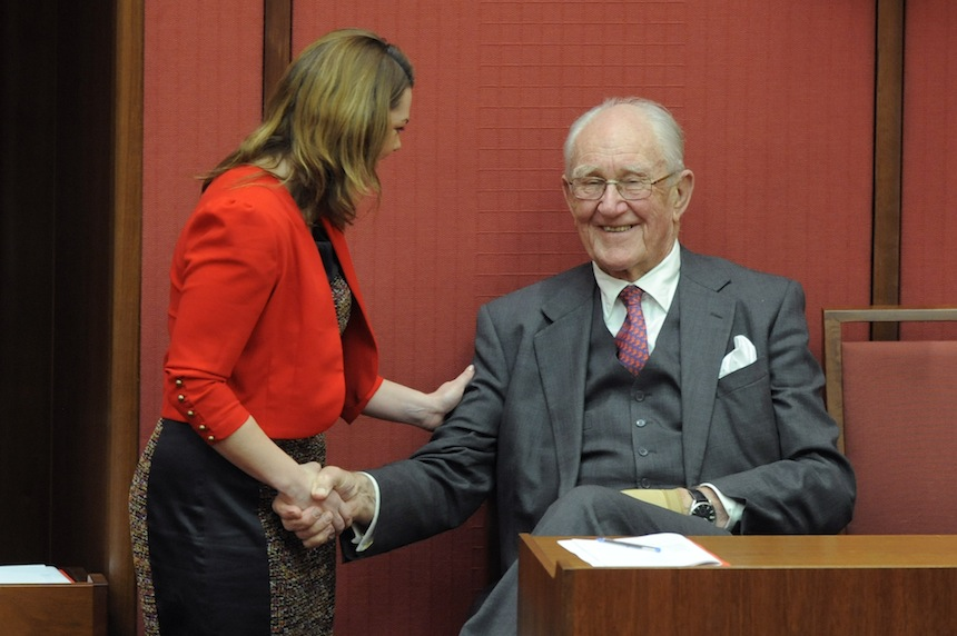 Sarah Hanon-Young with Malcolm Fraser