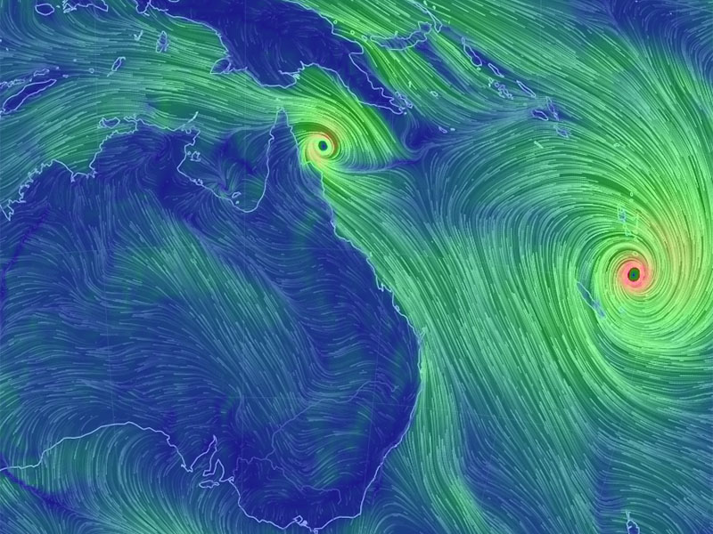 The size of Cyclone Pam can be seen on this wind chart. Photo: ABC