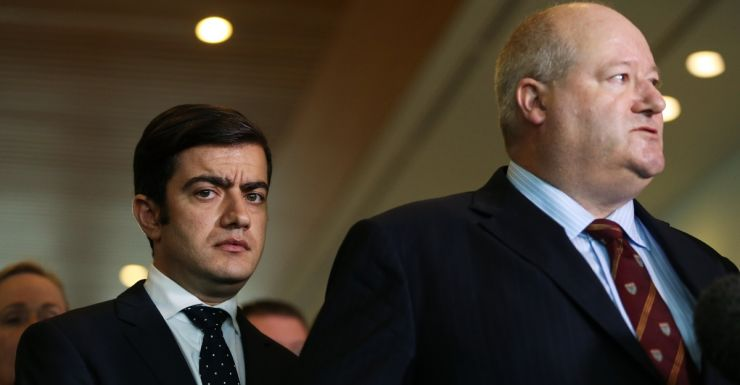Senator Sam Dastyari (l) with former CBA employee turned whistle blower Jeff Morris.