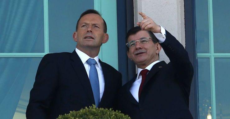 PM Tony Abbott and Turkey's PM Ahmet Davutoglu in Ankara.