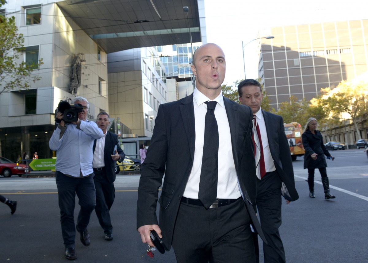 Raeffele Napoli leaves after giving evidence.