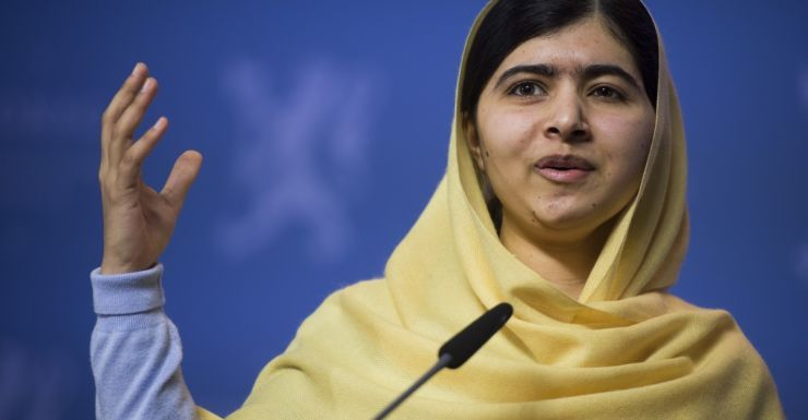 Nobel Peace Prize laureate Malala Yousafzai speaks at a press conference.