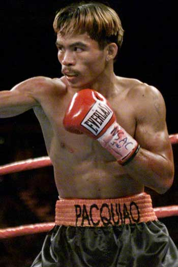 Manny Pacquiao, aged 23, in his first fight on US soil. Photo: Getty