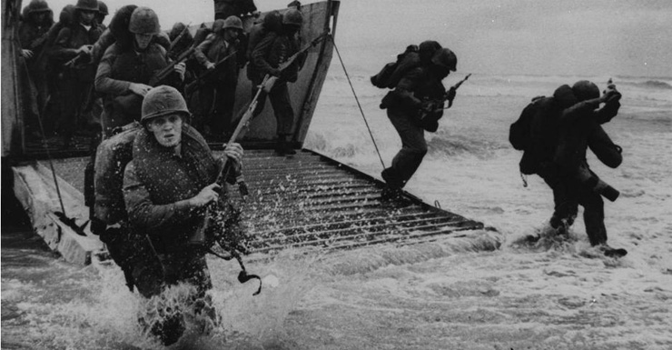 US Marines storm 'Red Beach Two' ten miles south of Da Nang, in south Vietnam.