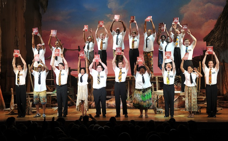 The cast of The Book of Mormon take a bow. Photo: Getty