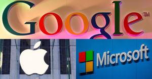 Google, Apple and Microsoft logos