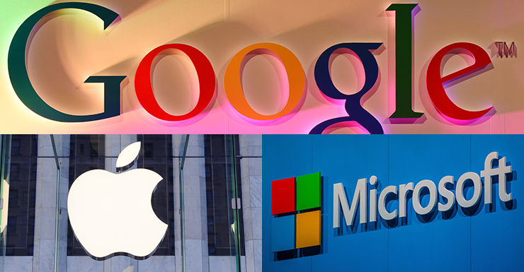 Google, Apple and Microsoft logos