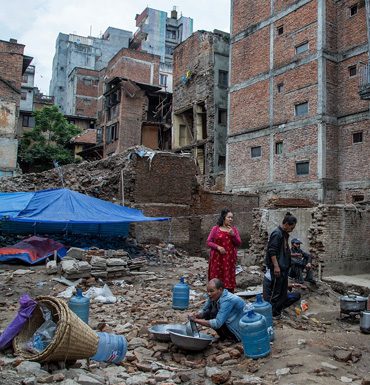 A family set up a temporary shelter in in Kathmandu, Nepal.