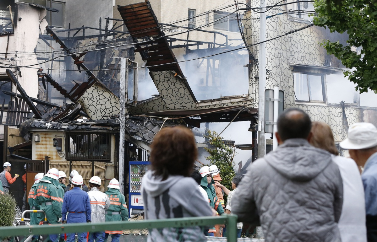 A lodging facility stands gutted in Kawasaki.