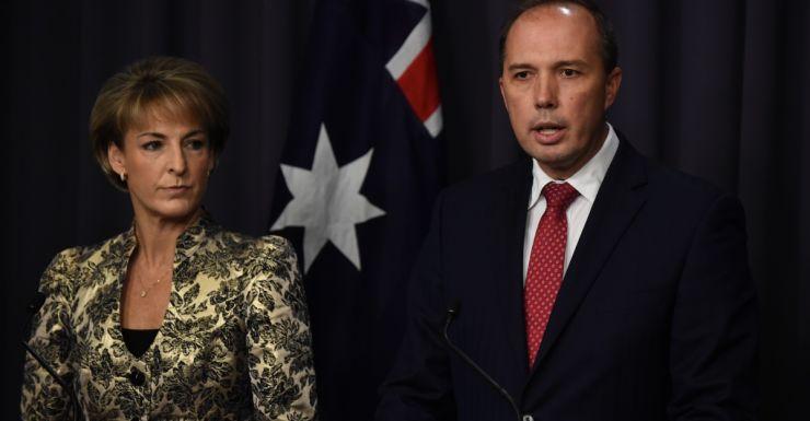 Assistant Immigration Minster Michaelia Cash and Mr Dutton.