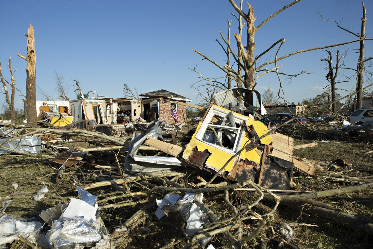 A house destroyed by a tornado that tore through Arkansas.