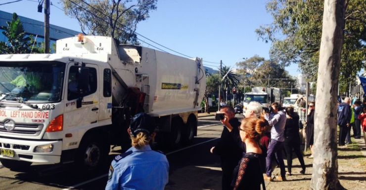 Garbage trucks from Blacktown descend on SBS to protest.