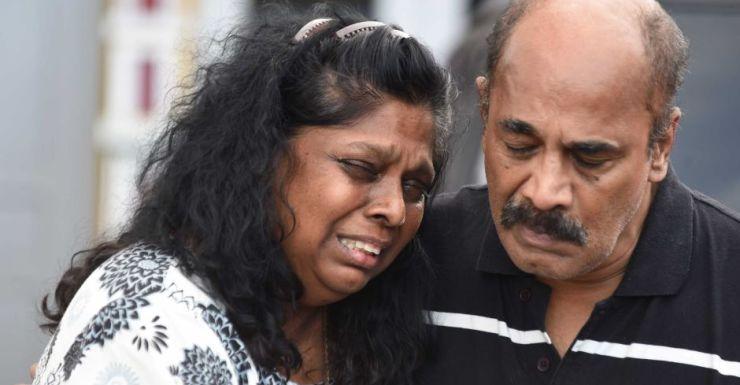 Raji and Sam Sukumaran after saying their last goodbye to their son.