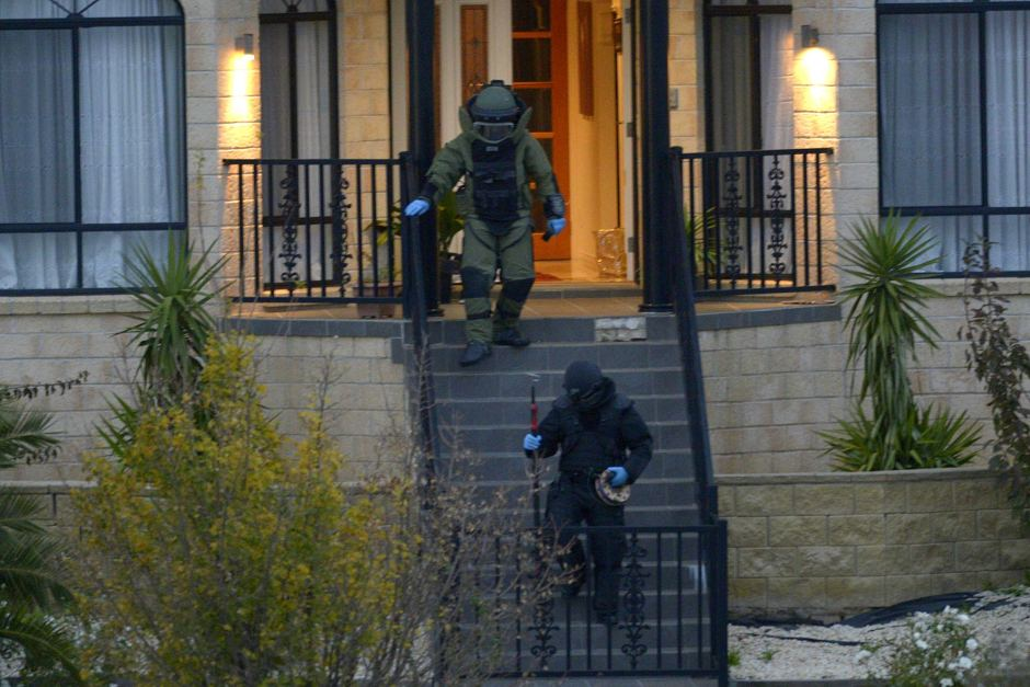 The bomb squad found a number of improvised explosive devices in the Greenvale home.