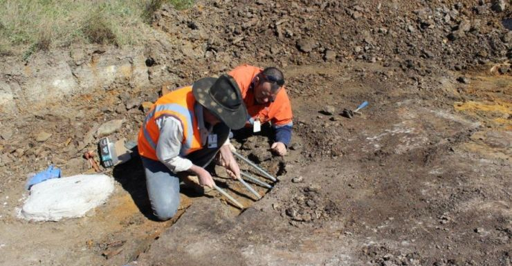 An Australian Age of Dinosaurs crew digging for fossils.