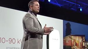 Elon Musk unveils the Powerwall at the Tesla Design Studio in Hawthorne, California
