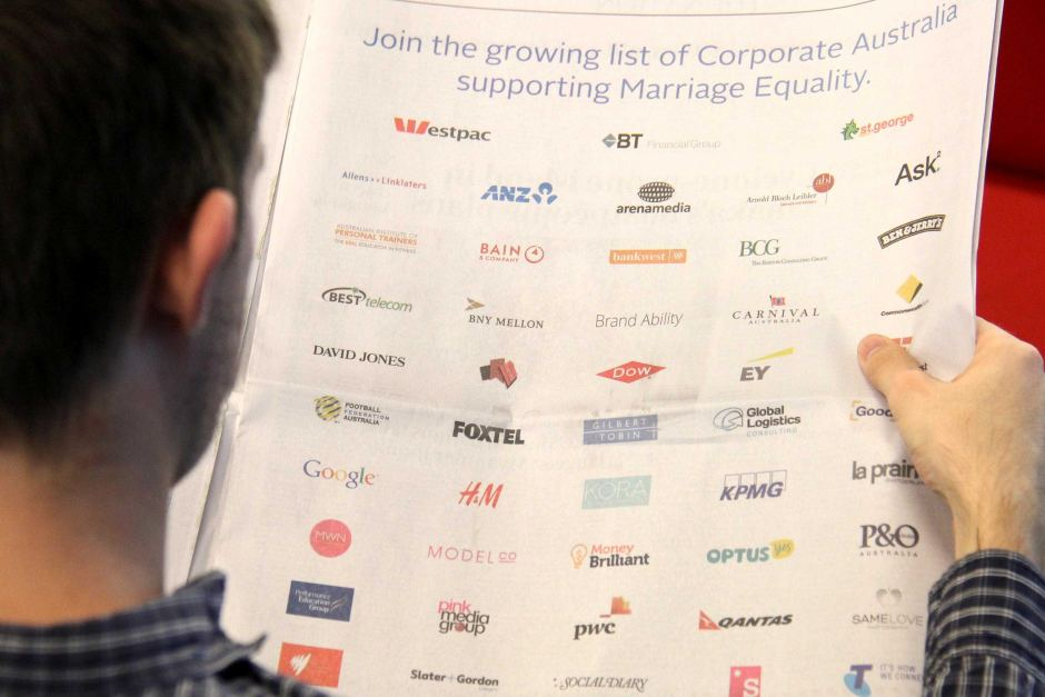 A full-page ad of companies supporting same-sex marriage.