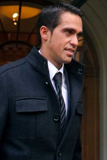 Spanish cyclist Alberto Contador leaves the Court of Arbitration for Sport in 2011. Photo: Getty