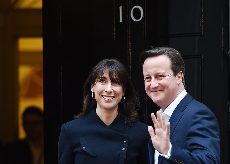 David Cameron with his wife Samantha outside number 10 Downing Street.