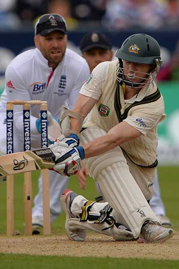 Rogers brings up his first Test century with a sweep. Photo: Getty