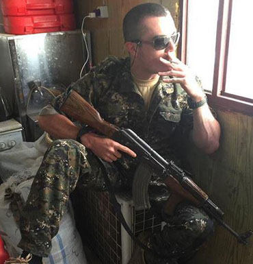 According to reports, Mr Dyball made Facebook posts advising he was headed for the frontline.