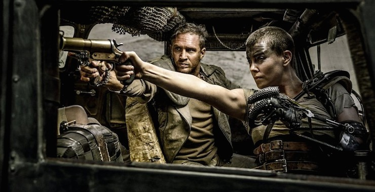 Tom Hardy and Charlize Theron as Max and Furiosa.