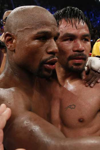 There was plenty of respect on display before, during and after the fight. Photo: Getty
