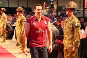 Billy Slater couldn't quite work out what was going on at the Maroons team announcement either. Photo: Getty
