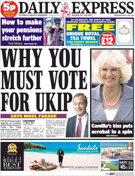 The Daily Express cast its vote for nationalist party UKIP, which will likely be important in negotiations after the result is known.
